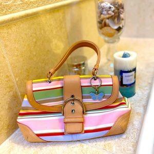 Like NEW Coach rainbow stripe purse leather purse